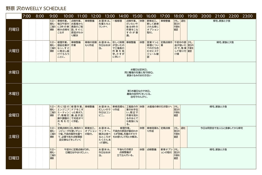 野原 沢のWEELLY SCHEDULE