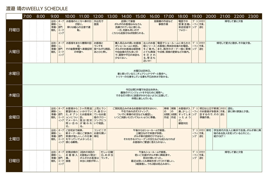 渡邉 靖のWEELLY SCHEDULE